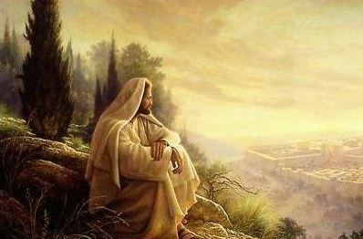 Jesus praying on mountain