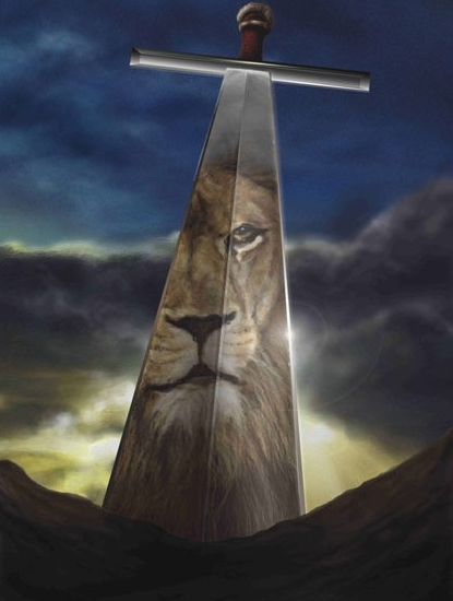 Lion reflection in sword