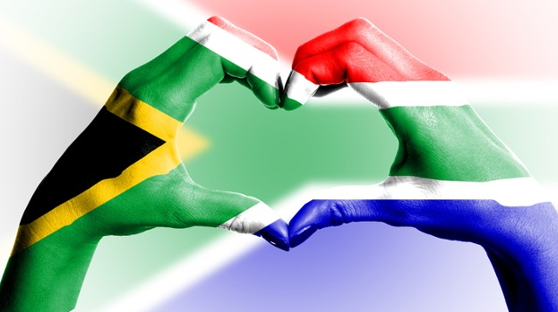 Heart hands South African flag